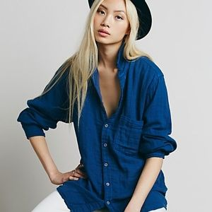 Free People x CP Shades Oversized Button Down Top